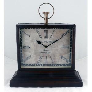 Barnes High Street Classic Table Clock Leather Finish 36cm