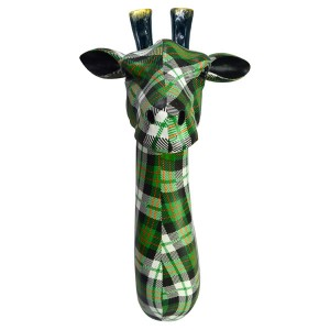 Giraffe Head Resin Wall Hanging Green Tartan