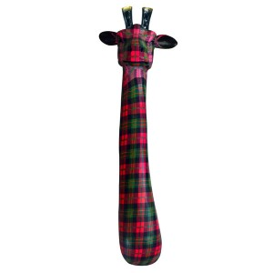 Giraffe Head Large Resin Wall Hanging Red Tartan