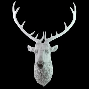 Deer Stag Head Resin Wall Hanging White Finish