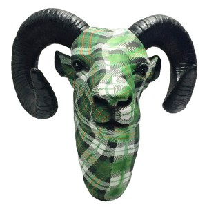 Ram Head Resin Wall Hanging Green Tartan