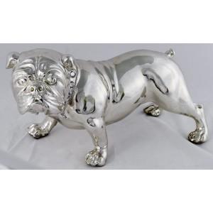 Bulldog Electroplated Resin Figure 38cm