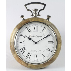 Stop Watch Style Wall Clock - Wood Frame with Nickel Fittings 44cm High - Middle England Birmingham