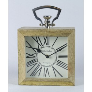 Desk Table Clock - Mango Wood And Nickel 25.4cm High - Middle England Birmingham