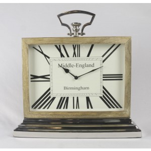 Rectangular Desk Table Clock - Mango Wood And Nickel Fittings 45.4cm High - Middle England Birmingham