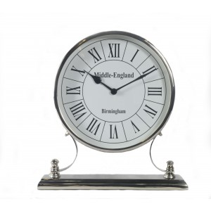 Round Nickel Clock On Stand