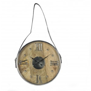 Round Wood & Aluminium Clock Hanging From Faux Leather Belt
