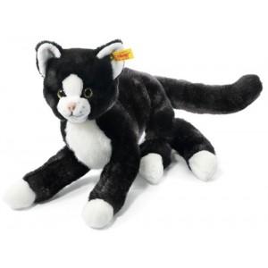 Steiff Mimmi Dangling Cat - Black/White - Soft Woven Fur - 30cm - 099366