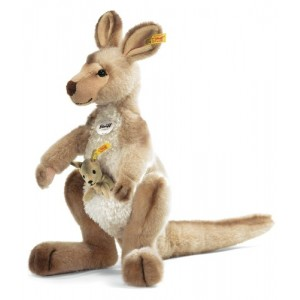 Steiff Kango Kangaroo With Baby - Beige Tipped - Soft Woven Fur - 40cm - 064623
