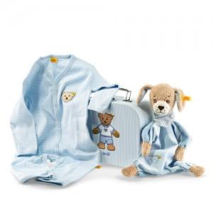 Steiff Dog & Blanket Gift Set - Blue - 24cm - Blue - 24cm - 240508