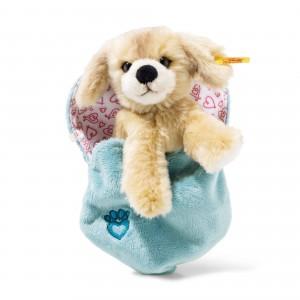 Steiff Kelly Dog In Heart Bag - Blond - Soft Plush - 15cm - 077050