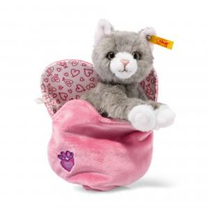 Steiff Cindy Cat In Heart Bag - Grey Tabby - Soft Plush - 14cm - 099311