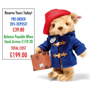 PRE-ORDER ONLY *DEPOSIT* Steiff Paddington Bear - 60th Anniversary Limited Edition - *Stock MAY 2018*