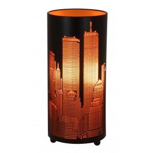 New York Skyline Round Metal Table Lamp Matt Black - Copper Effect 28cm