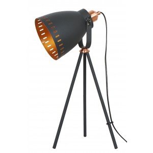 Film Set Tripod Table Lamp Matt Black - Copper 50cm