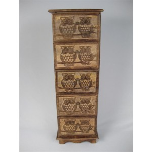 Mango Wood Owl Design Chest of 5 Drawers