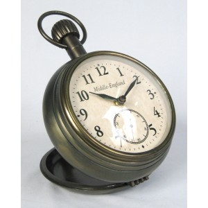 Pocket Watch Design Desk Table Clock - Antique Brass 18cm High - Middle England