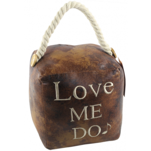 Square Faux Leather 'Love Me Do' Doorstop