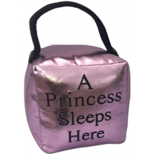Square Faux Leather Metallic Pink 'A Princess Sleeps Here' Doorstop