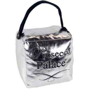 Square Faux Leather Metallic Silver 'Prosecco Palace' Doorstop