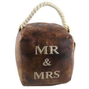 Square Faux Leather 'Mr And Mrs' Doorstop