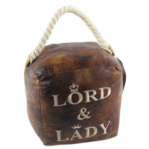 Square Faux Leather 'Lord & Lady' Doorstop