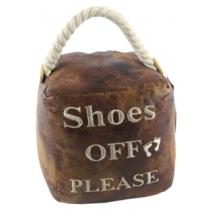 Square Faux Leather 'Shoes Off Please' Doorstop