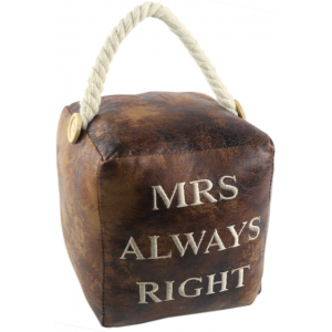 Square Faux Leather 'Mrs Always Right' Doorstop
