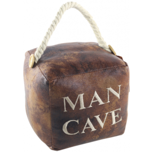 Square Faux Leather 'Man Cave' Doorstop