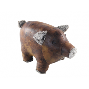 Faux Leather Pig Doorstop
