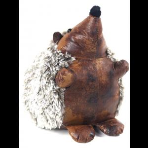 Faux Leather Fluffy Hedgehog Doorstop