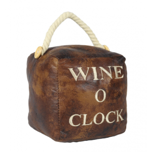 Square Faux Leather 'Wine - O - Clock' Doorstop