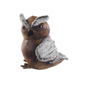 Faux Leather Fluffy Owl Doorstop
