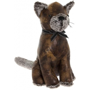 Faux Leather Sitting Cat Doorstop