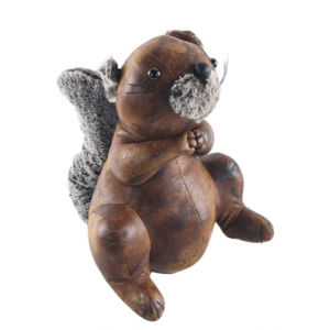 Faux Leather Sitting Squirrel Doorstop