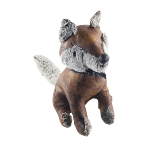 Faux Leather Sitting Fox Doorstop