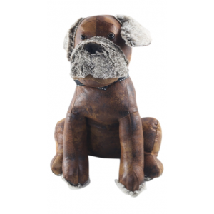Faux Leather Sitting Dog Doorstop